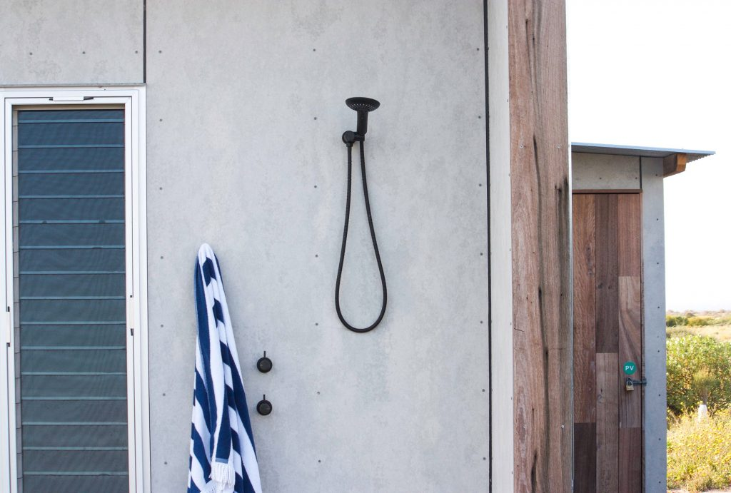 plywood home outdoor shower